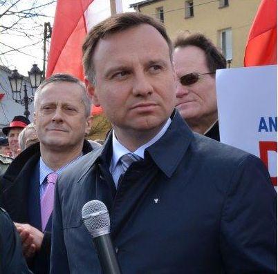 Andrzej Leyk podczas wizytu na Kaszubach prezydenta Dudy